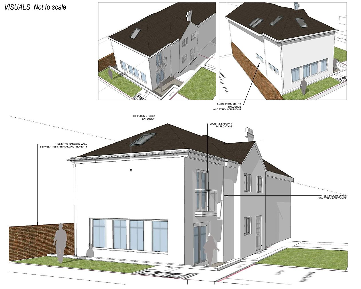 2 storey side extension to dwelling, rendered frontage