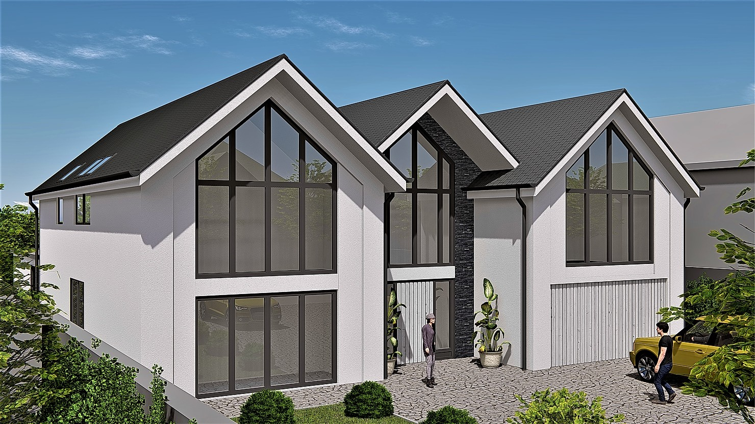 new build dwelling, Vaulted roof, glass frontage