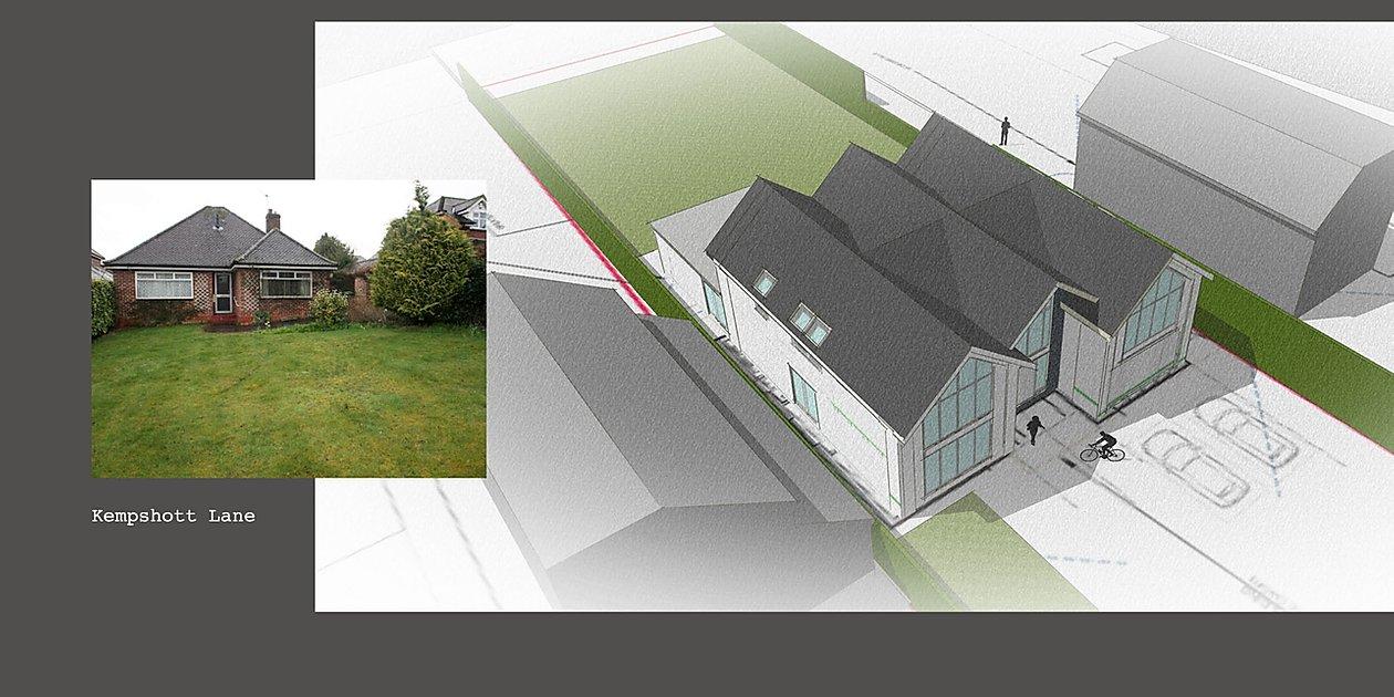 New build, triple bay frontage, convert a bungalow